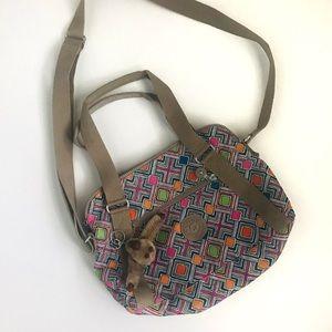 Kipling tan geometric pattern handbag 13 x 9